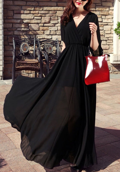 Black Draped V-neck Short Sleeve Bohemian Prom Evening Party Maxi Dress