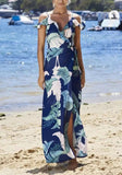 White Floral Tie Back Condole Belt Side Slit Maxi Dress