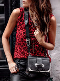 Red Leopard Print V-neck Fashion Vest