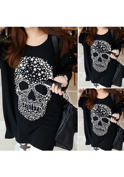 Black Skull Print Round Neck Long Sleeve Fashion T-Shirt