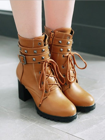 Brown Round Toe Rivet Belt Buckle Zipper Lace-up Chunky Fashion Boots