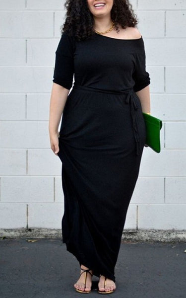 Black Sashes Draped Plus Size Round Neck 3/4 Sleeve Maxi Dress