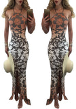 Multicolor Flowers Print Mermaid Backless Spaghetti Strap Bohemian Maxi Dress