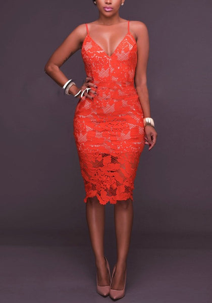 Orange Floral Lace Zipper Backless Slit Spaghetti Strap Party Midi Dress