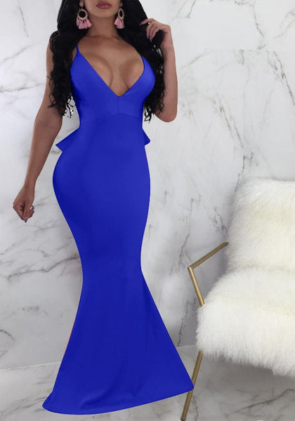 Sapphire Blue Ruffle Spaghetti Strap Backless Mermaid Deep V-neck Elegant Party Maxi Dress