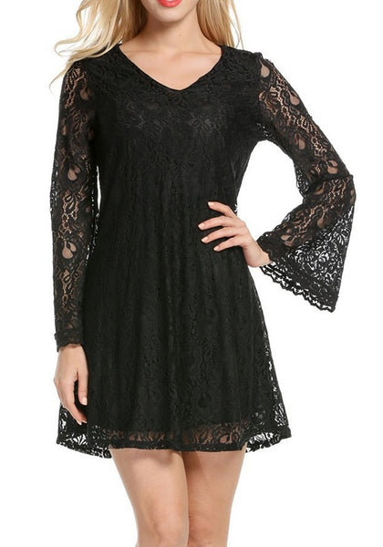 Black Draped Lace Double-deck V-neck Long Sleeve Midi Dress