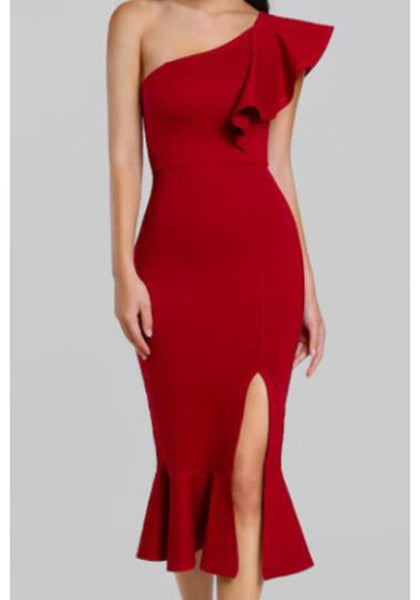 Red Ruffle Off-Shoulder Oblique Shoulder Side Slit Cocktail Party Maxi Dress