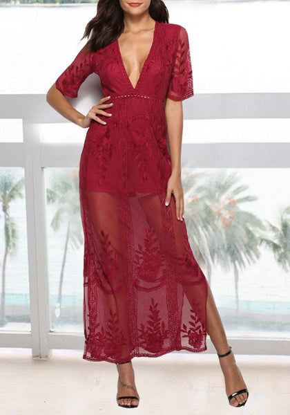 Burgundy Floral Lace Side Slit Deep V-neck Banquet Elegant Beach Party Maxi Dress