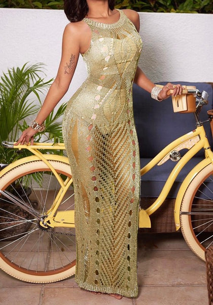 Golden Side Slit Round Neck Sleeveless Elegant Maxi Dress