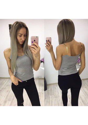 Grey Patchwork Chain Spaghetti Strap Bright Wire Club Vest
