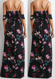Black Flowers Print Draped V-neck Open Back Off-Shoulder Maxi Dress