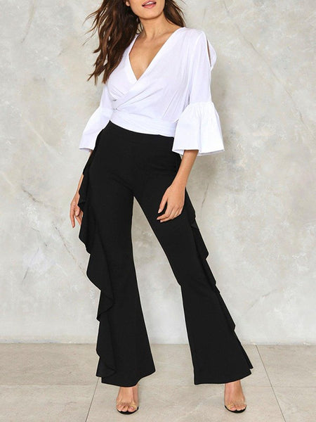 New Black Cascading Ruffle High Waisted Casual Fashion Office Worker Long Flare Pants