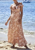 Khaki Floral Condole Belt V-neck Ruffle Tie Back Backless Fashion Maxi Dress