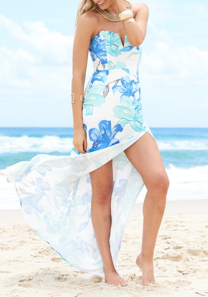 Blue-White Flowers Print Bandeau Off Shoulder Backless Elegant Maxi Dress