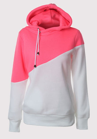 Rose Carmine Drawstring Pockets Long Sleeve Hooded Sports Casual Pullover Sweatshirt