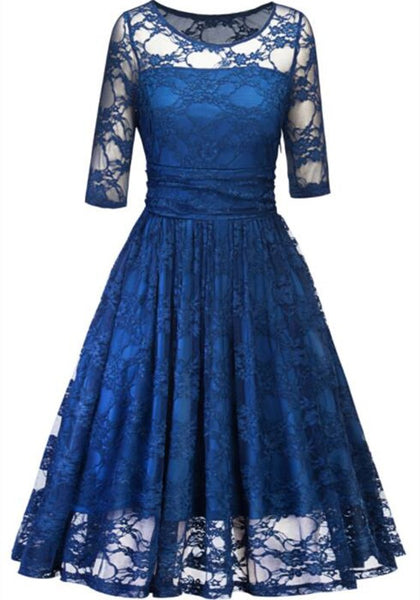 Blue Patchwork Lace Cut Out V-neck Long Sleeve Tutu Prom Evening Party Maxi Dress