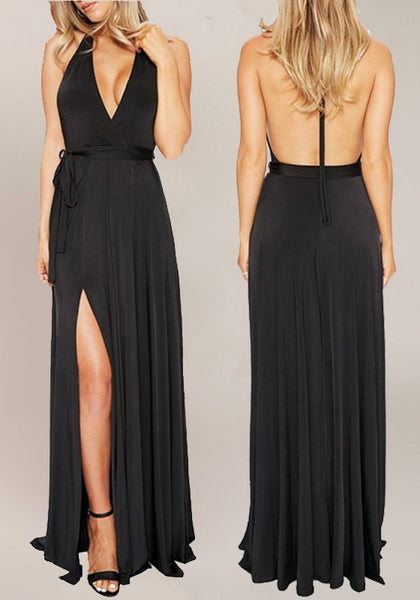 Black Plain Draped V-neck Sleeveless Elegant Maxi Dress