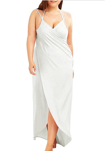 White Draped Backless Irregular V-neck Spaghetti Strap Plus Size Beach Maxi Dress