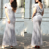 Silver Sequin V-Back Bridesmaid Round Neck Party Prom Fashion Maxi Dress