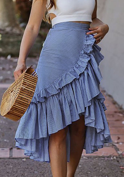 Blue Ruffle Draped Irregular High-low Bohemian Elegant Skirt