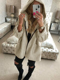Beige Patchwork Pockets Zipper Hooded Fashion Outerwear
