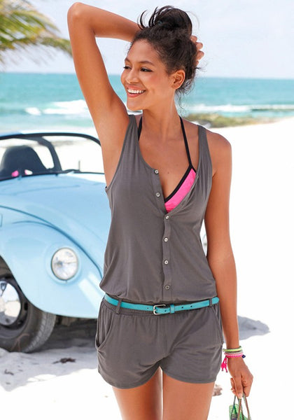 Grey Single Breasted Pockets Round Neck Casual Short Jumpsuit