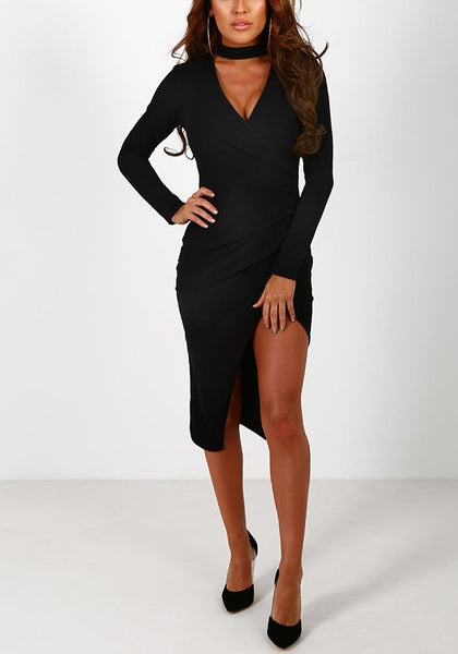 Black Cut Out Ruffle Irregular V-neck Midi Dress