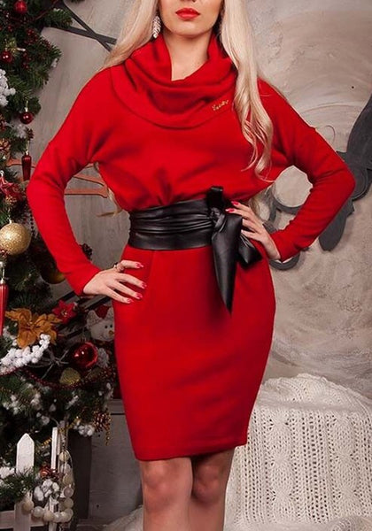 Red Sashes Turndown Collar Long Sleeve Fashion Midi Dress