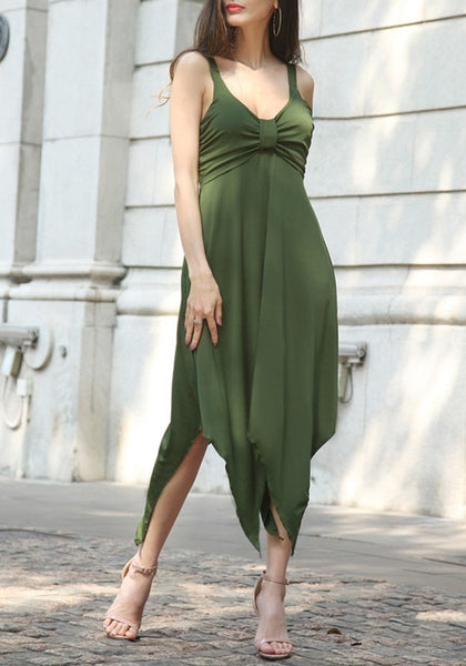 Army Green Shoulder-Strap Bow Irregular Draped V-neck Ruched Flowy Party Midi Dress