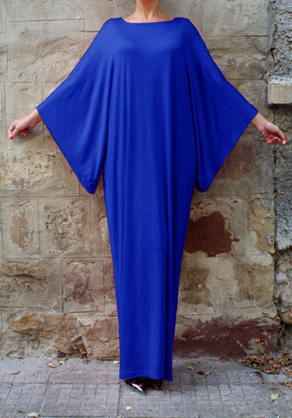 Royal Blue Draped Round Neck Batwing Sleeve Muslim Casual Maxi Dress