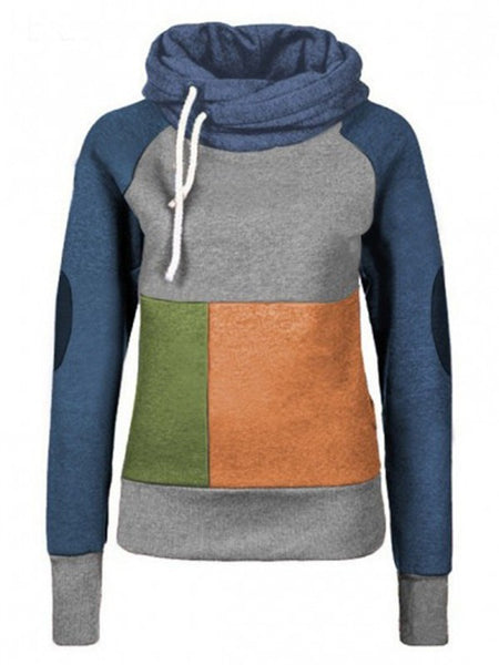 Blue Grey Geometric Print Drawstring Hooded Long Sleeve Sweatshirt