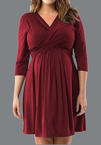 Burgundy Draped Plus Size Lace-up V-neck Maternity Party Mini Dress