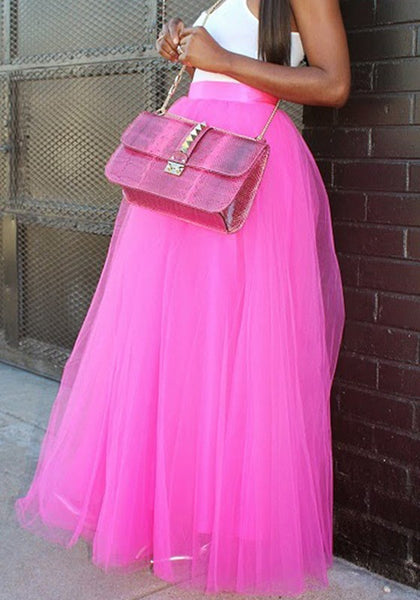 Pink Patchwork Grenadine High Waisted Plus Size Fashion Long Tutu Maxi Skirt