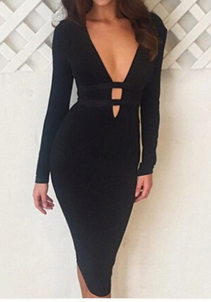 Black Plain Cut Out Plunging Neckline Long Sleeve Midi Dress