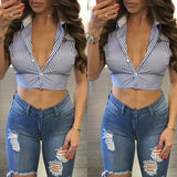 Blue Striped Single Breasted Irregular Crop Cut Out Blouse
