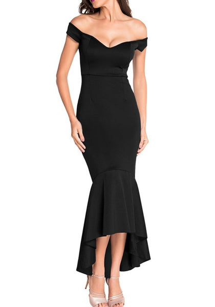 Black Irregular High-Low Off Shoulder Backless Bodycon Mermaid Prom Evening Party Maxi Dress