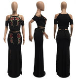 Black Flowers Embroidery Sashes Two Piece Round Neck Maxi Dress