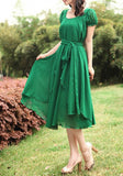 Green Plain Belt Round Neck Short Sleeve Midi Dress