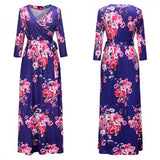 Sapphire Blue Floral Pattern Sashes Draped 3/4 Sleeve Deep V-neck Bohemian Maxi Dress