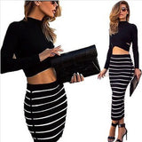 Black White 2-in-1 Crop Top Bodycon Striped Skirt Bandage Club Party Dress Twinset For Women