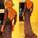 Black Sequin Bridesmaid Backless Winter Formal New Year Skinny Maxi Party Dress