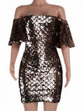 Black Off Shoulder Sequin Detail Bodycon Mini Dress