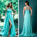 Sky Blue Patchwork Lace Round Neck Bohemian Chiffon Maxi Dress