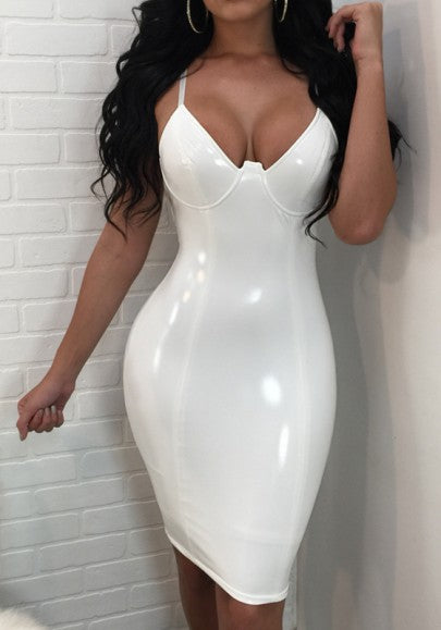 White latex Condole Belt Zipper Cut Out V-neck Latex Fashion Midi Dress