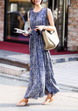 Blue Floral Draped Lace-up Bohemian Sweet Maxi Dress