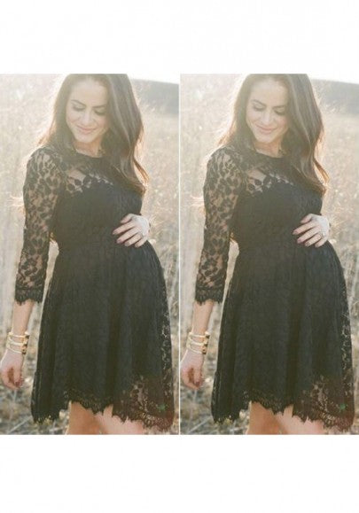 Black Grenadine Pleated Irregular 3/4 Sleeve Maternity Baby Shower Elegant Midi Dress