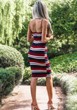 Red Striped Zipper Bodycon Spaghetti Strap Color Block Cute Midi Dress