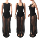 Black Grenadine Pleated Sheer Maxi Dress With Bodysuit Underneath