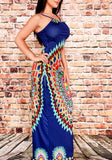 Navy Blue Tribal Print Backless Off Shoulder Spaghetti Strap Bohemian Maxi Dress
