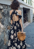 Black Floral Tie Back Ruffle Draped V-neck Fashion Maxi Dress
